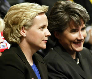 Mary Cheney with her partner Heather Poe at the Republican National Convention