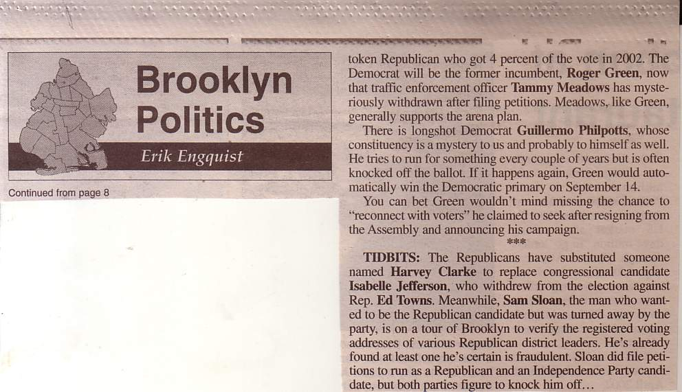 August 2 Article in Courier Life about Sam Sloan for Congress