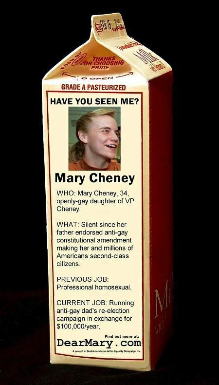 A photo supposedly depicting Mary Cheney on a Milk Carton posted on the Internet by a supposedly pro-Lesbian rights group