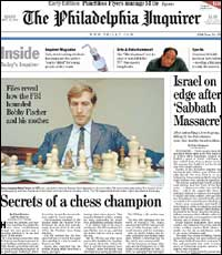 Front Page story in the Philadelphia Inquirer