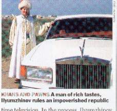 Shaikh Kirsan Ilyumzhinov poses with one of his many Rolls Royces