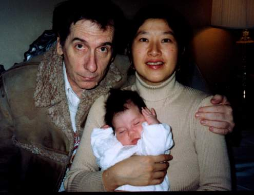 Sam, Kayo and Sandra at two months